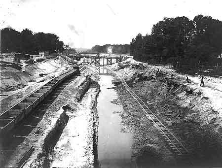 Bau des Teltowkanals - historische Aufnahme