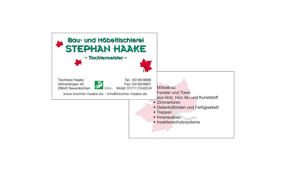 Visitenkarten Tischlerei Haake