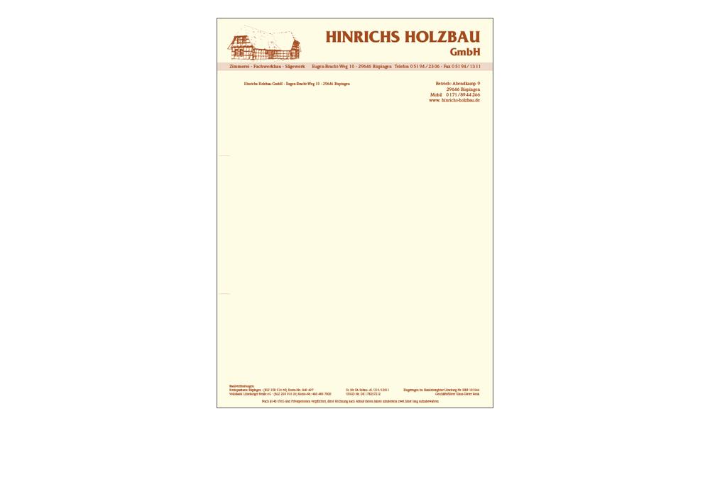 Briefbogen Hinrichs Holzbau