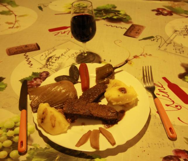 bœuf braisé aux petits légumes du jardin