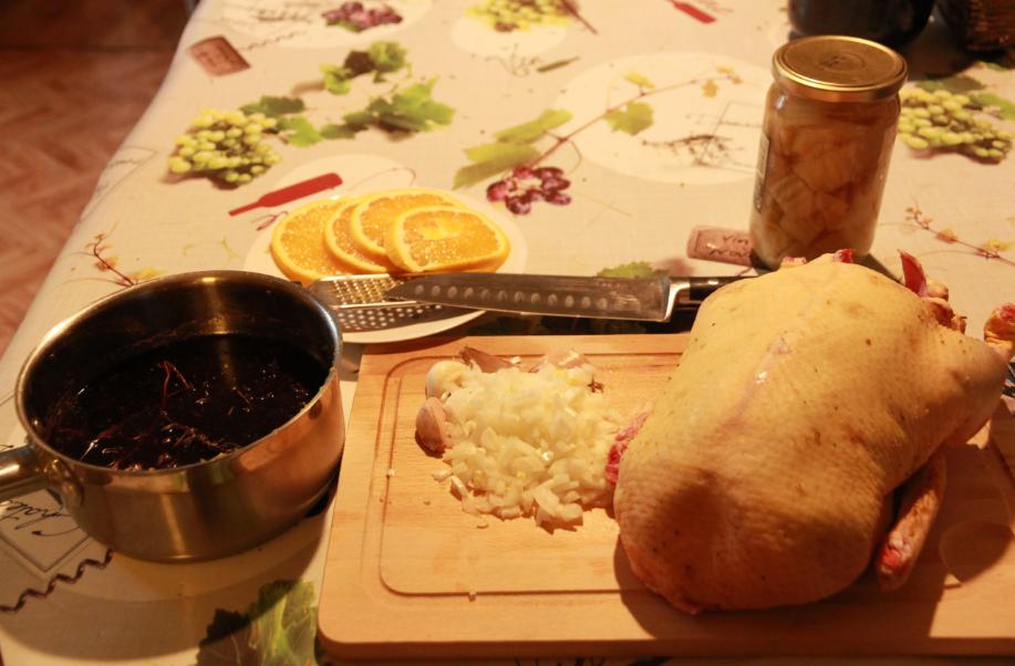 préparation canette en bourguignon, 1ère étape : découpe