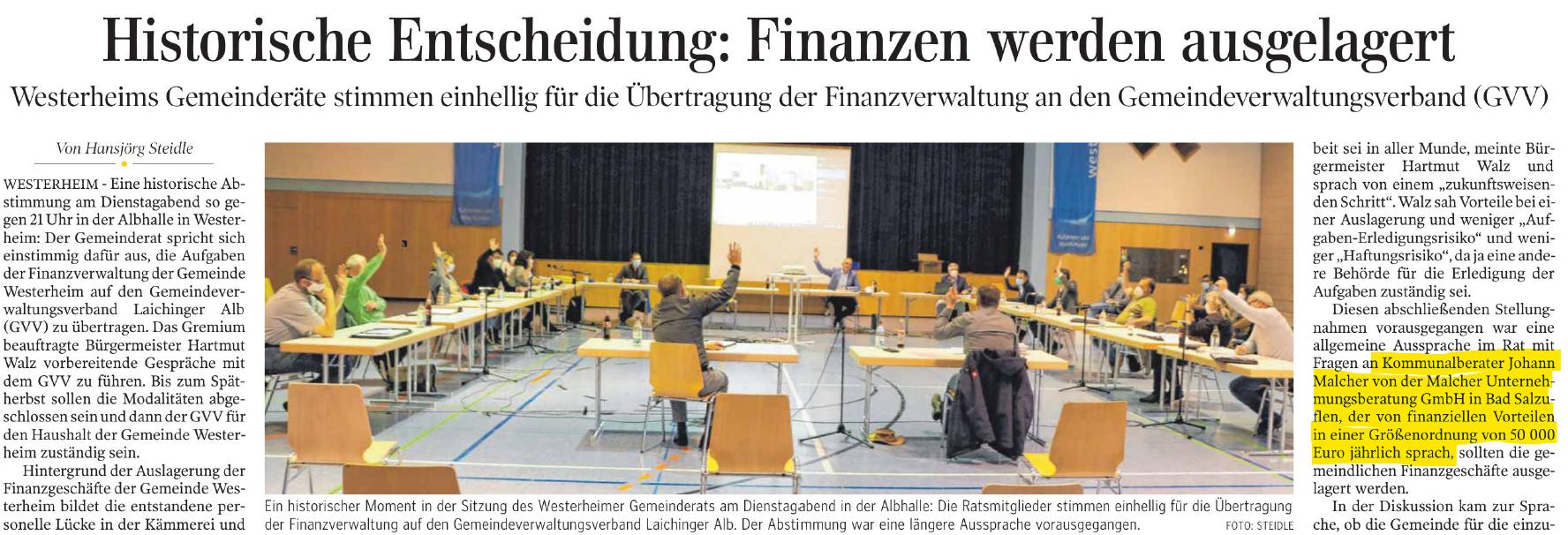 Gemeinde Westerheim folgt unserer Empfehlung