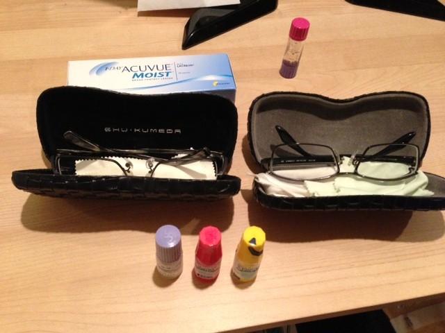 常にかばんに入っているセットです。 (眼鏡 昼用、夜用 ハードコンタクト、ソフトコンタクト 目薬 サンコバ、ソフトサンティア、ミドリン)