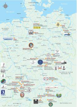 Flößervereine in Deutschland. Karte: Förderverein Elsterfloßgraben