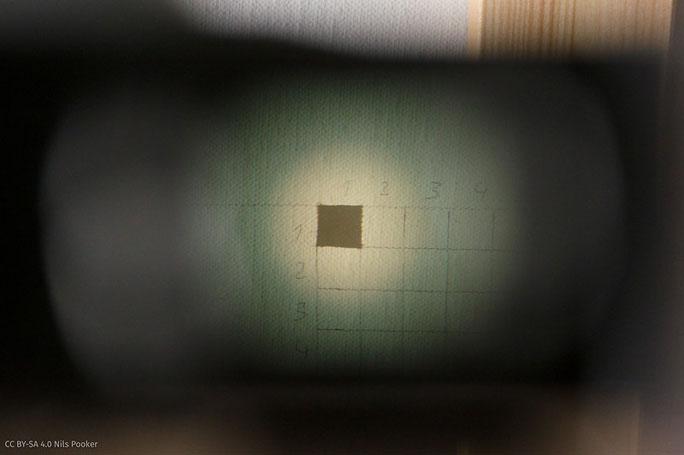 Durchblick in das Fenster des Messsucheraufsatzes