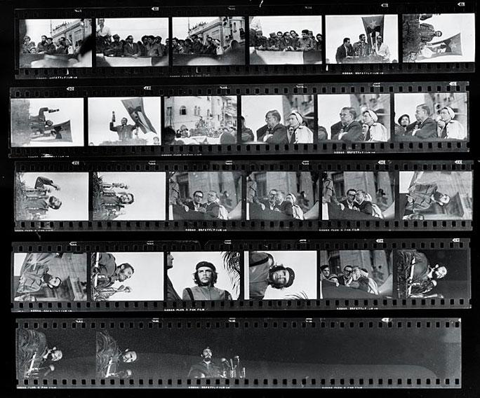 Kontaktabzug des Fotografen Alberto Korda mit dem ikonischen Foto von Che Guevara