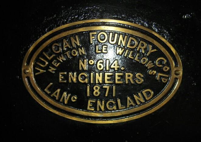 英国ヴァルカンハンドリー社の銘板。1871年(明治4年)製造。(鉄道博物館所蔵)