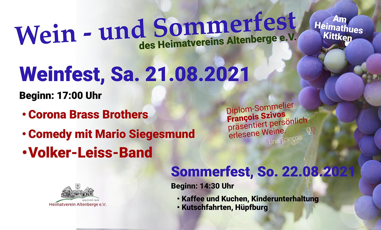 21.-22.8.2021 Wein- und Sommerfest am Heimathaus