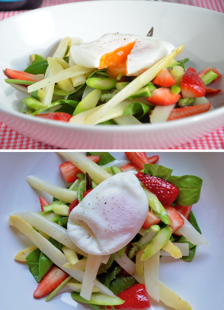 Spargelsalat mit Erdbeeren, Babyspinat und pochiertem Ei. Ein perfekter und gesunder Start in den Frühling!