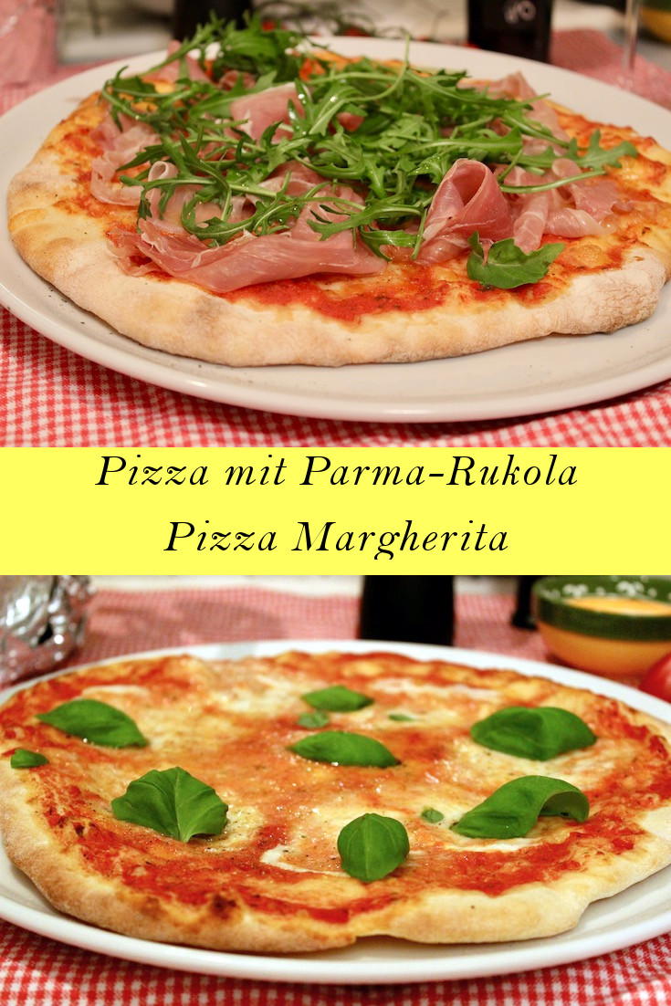 Pizza Margherita und Pizza mit Parmaschinken und Rukola