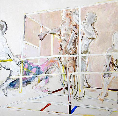 Martin Mohr  Fight Club  Acryl und Lack auf Baumwolle   200 x 200 cm