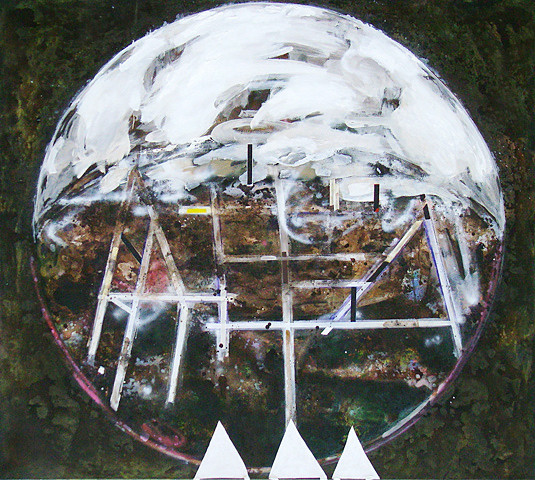 Martin Mohr  Völkerball  Acryl, Lack und Öl auf Baumwolle   180 x 200 cm