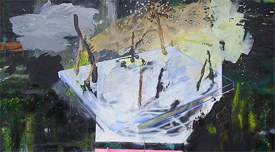 Martin Mohr  Landannahme  Acryl, Lack und Öl auf Baumwolle   100 x 180 cm