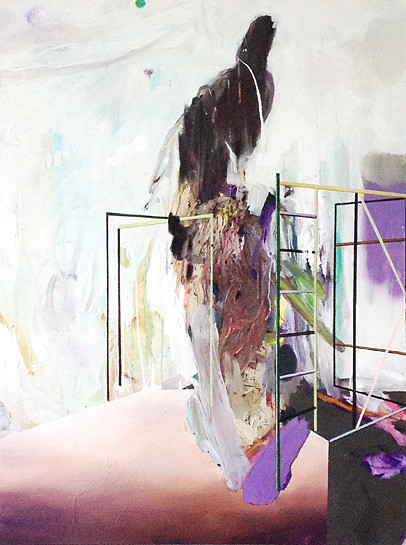 Martin Mohr  Turmfalke  Acryl, Lack und Öl auf Baumwolle   120 x 90 cm