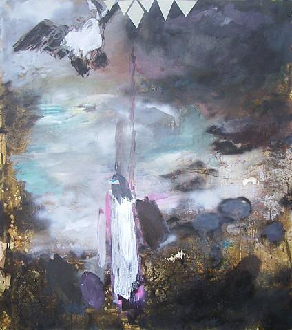 Martin Mohr  Mönch am Meer  Acryl, Lack und Öl auf Baumwolle   170 x 150 cm