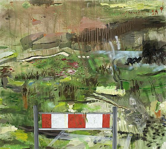 Martin Mohr  Achtung Spielwiese  Acryl, Lack und Öl auf Baumwolle   200 x 220 cm