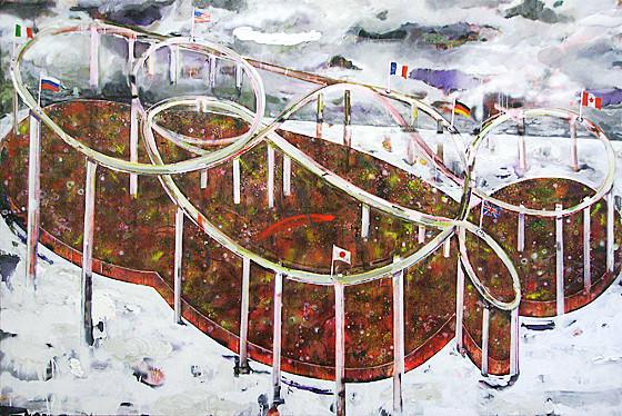 Martin Mohr  Das Leben ist ein langer ruhiger Fluss  Acryl, Lack und Öl auf Baumwolle   170 x 250 cm