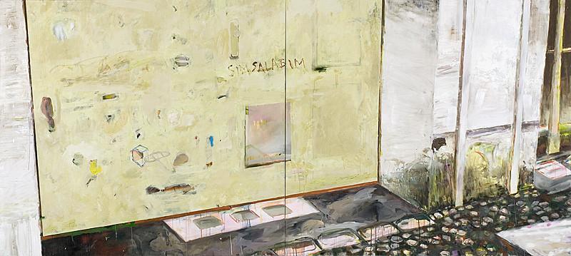 Martin Mohr  simsalabim  Acryl, Lack und Öl auf Baumwolle   200 x 440 cm