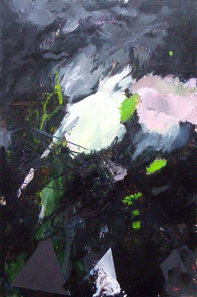 Martin Mohr  Hase hüpf  Acryl, Lack und Öl auf Baumwolle   210 x 140 cm