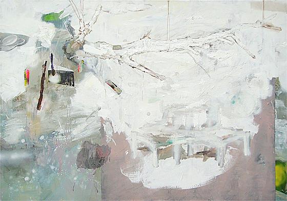 Martin Mohr  Himmelskörper  Acryl, Lack und Öl auf Baumwolle   140 x 200 cm