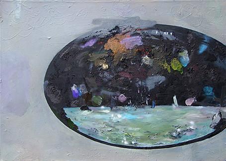 Martin Mohr  Ursuppe  Acryl, Lack und Öl auf Baumwolle   100 x 140 cm