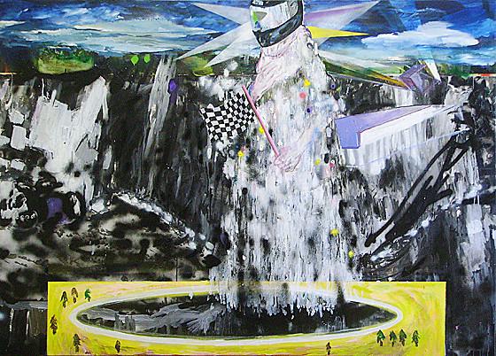 Martin Mohr  Urknall  Acryl, Lack und Öl auf Baumwolle   140 x 195 cm
