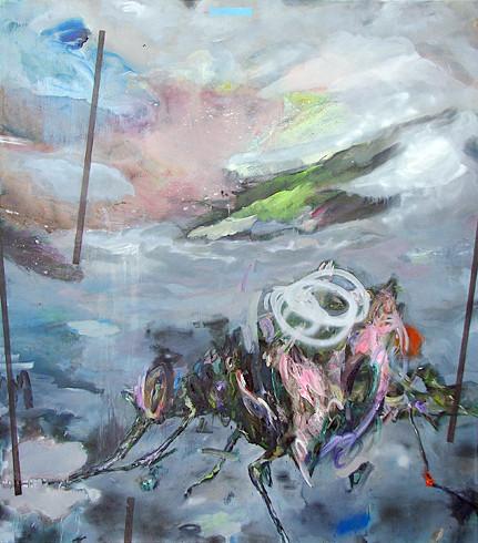 MArtin Mohr  Zauberlehrling  Acryl, Lack und Öl auf Baumwolle   170 x 150 cm