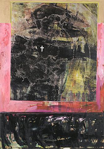 Martin Mohr  urbi et orbi  2005  Holzschnitt und Acryl auf Baumwolle   200 x 140 cm