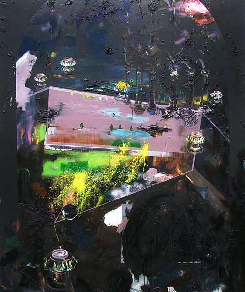 Martin Mohr  Freispiel  Acryl, Lack und Öl auf Baumwolle   190 x 160 cm