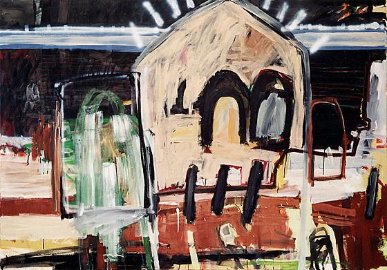 Martin Mohr  Gotteshaus  2005  Acryl und Lack auf Baumwolle   140 x 200 cm