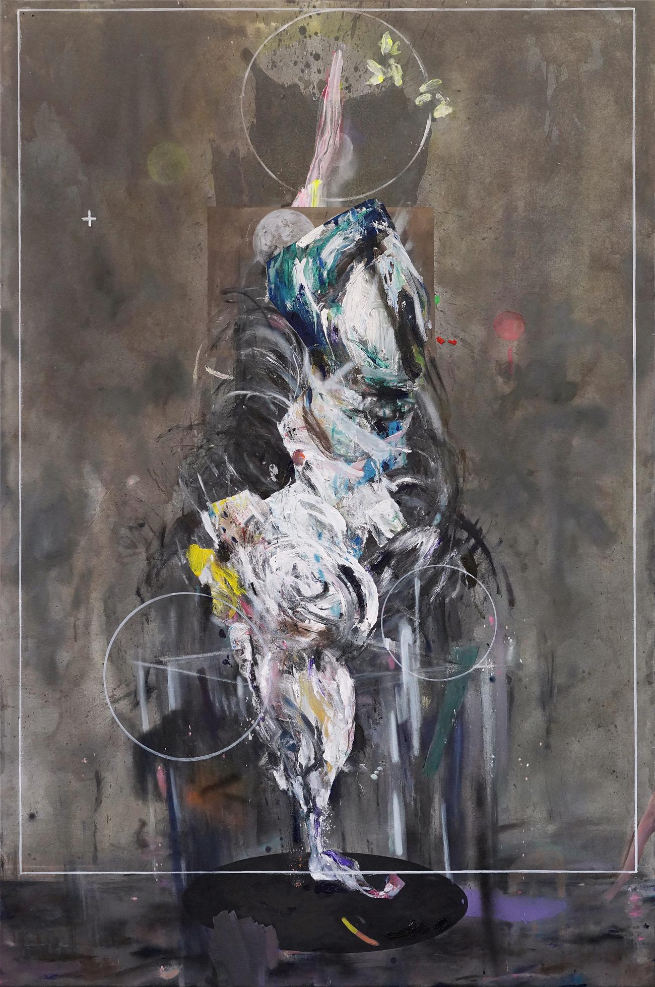 Martin Mohr  Traumfänger  Acryl, Lack und Öl auf Baumwolle   180 x 120 cm