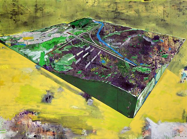 Martin Mohr  Stück Landschaft  Acryl, Lack und Öl auf Baumwolle   185 x 250 cm