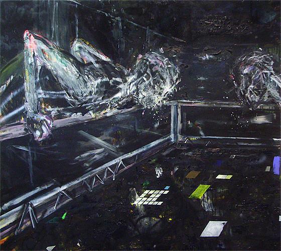 Martin Mohr  Zaungäste  Acryl, Lack und Öl auf Baumwolle   160 x 180 cm