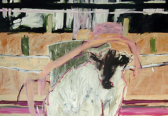 Martin Mohr  Goldenes Kalb  2004  Acryl auf Baumwolle   200 x 140 cm