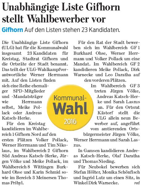 Gifhorner Rundschau 07.07.2016