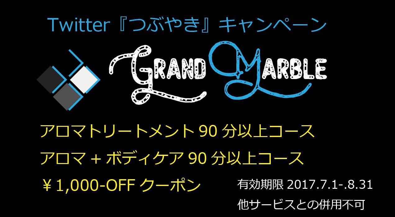 Twitter『つぶやき・フォロー』キャンペーン アロマトリートメント90分以上コース・アロマ+ボディケア90分以上コース ¥1,000-OFF