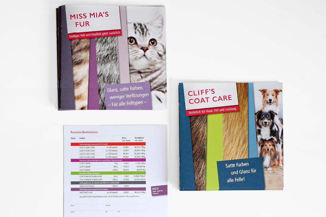 Broschüren für Hunde- und Katzen-Pflegeprodukte, Übersicht