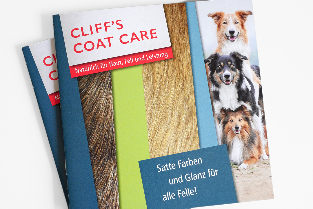 Broschüren für Hunde- und Katzen-Pflegeprodukte