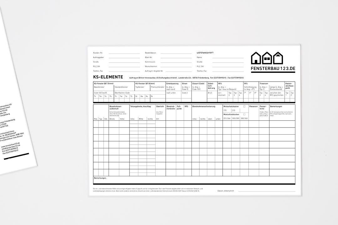 Corporate Design mit Logo und Geschäftsausstattung für einen Handwerker // Tabelle für Aufmaß
