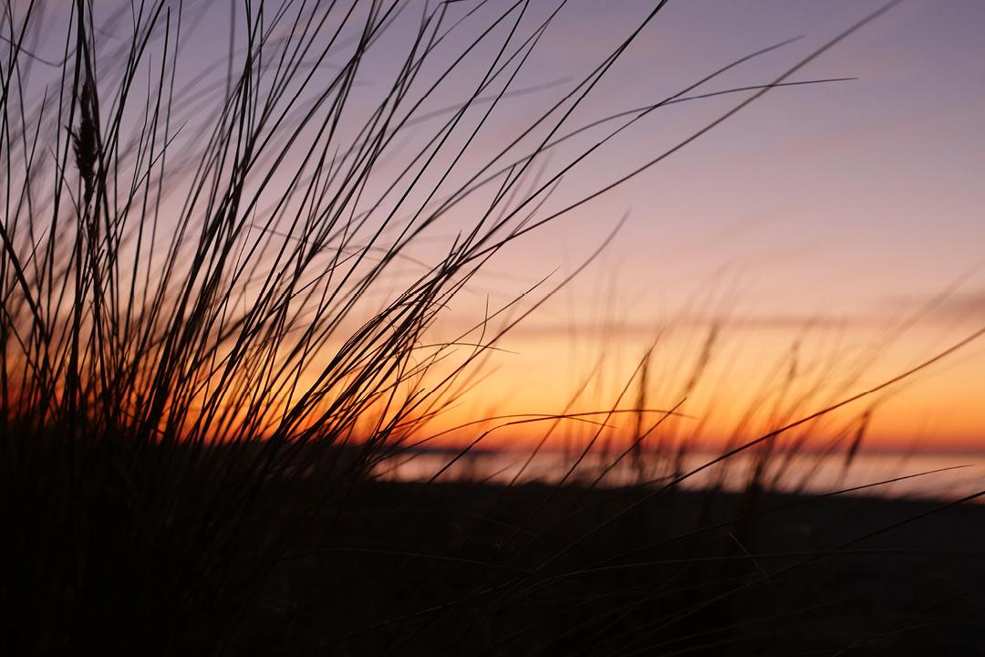 Am Meer /// Aufnahme von Strand und Meer /// Sonnenuntergang