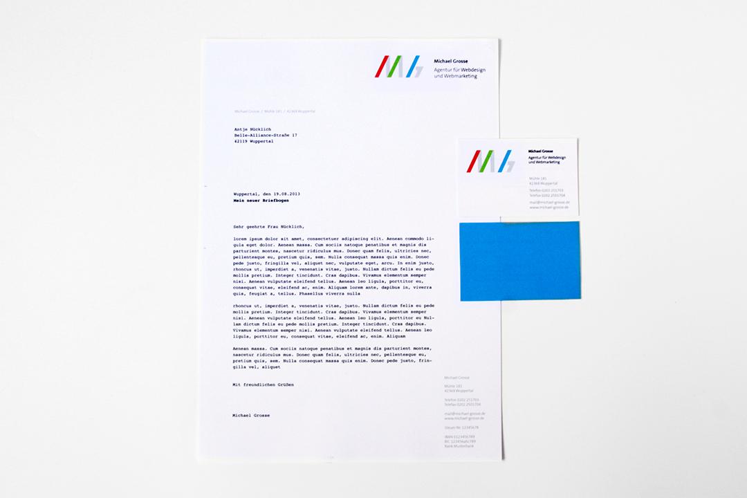 Geschäftsausstattung und Logo-Design für einen Webdesigner // Briefbogen und Visitenkarte