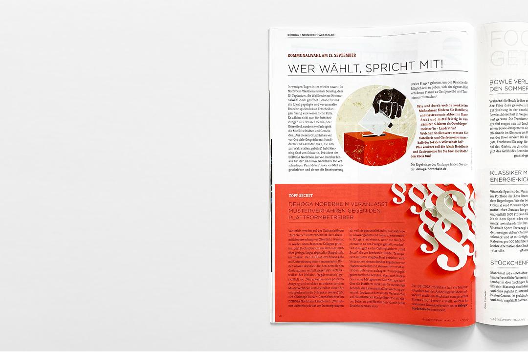"""Editorial Design // Doppelseite der Zeitschrift """"Gastgewerbe-Magazin"""""""