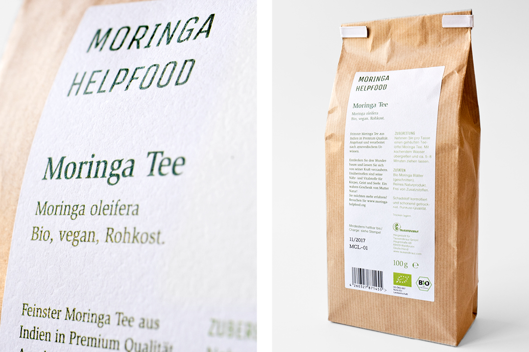 Verpackungsdesign für Bio-Tee // Detail und Rückansicht