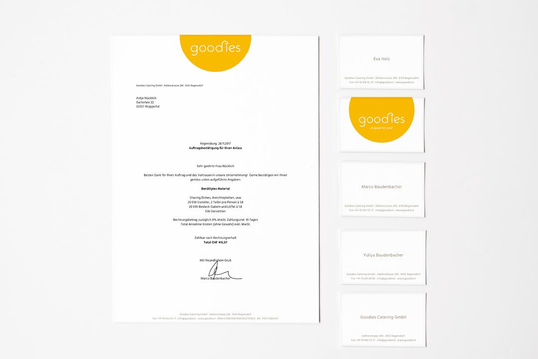 Corporate Design mit Logo und Geschäftsausstattung für ein Catering-Unternehmen // Briefbogen und Visitenkarte