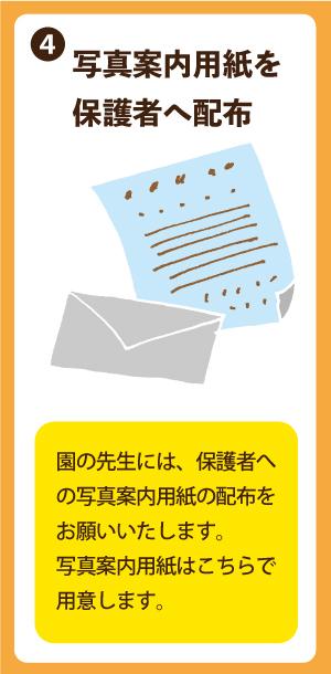 園から保護者に写真案内のお手紙配布