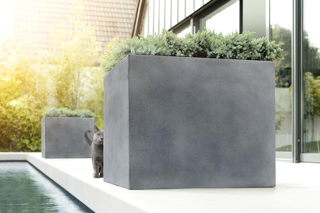 rechteckiges Pflanzgefäß auf einer Holzterrasse