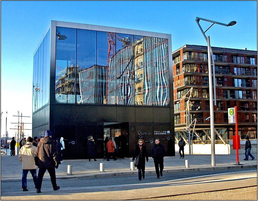 Info - Pavillon für/ über die Elbphilharmonie