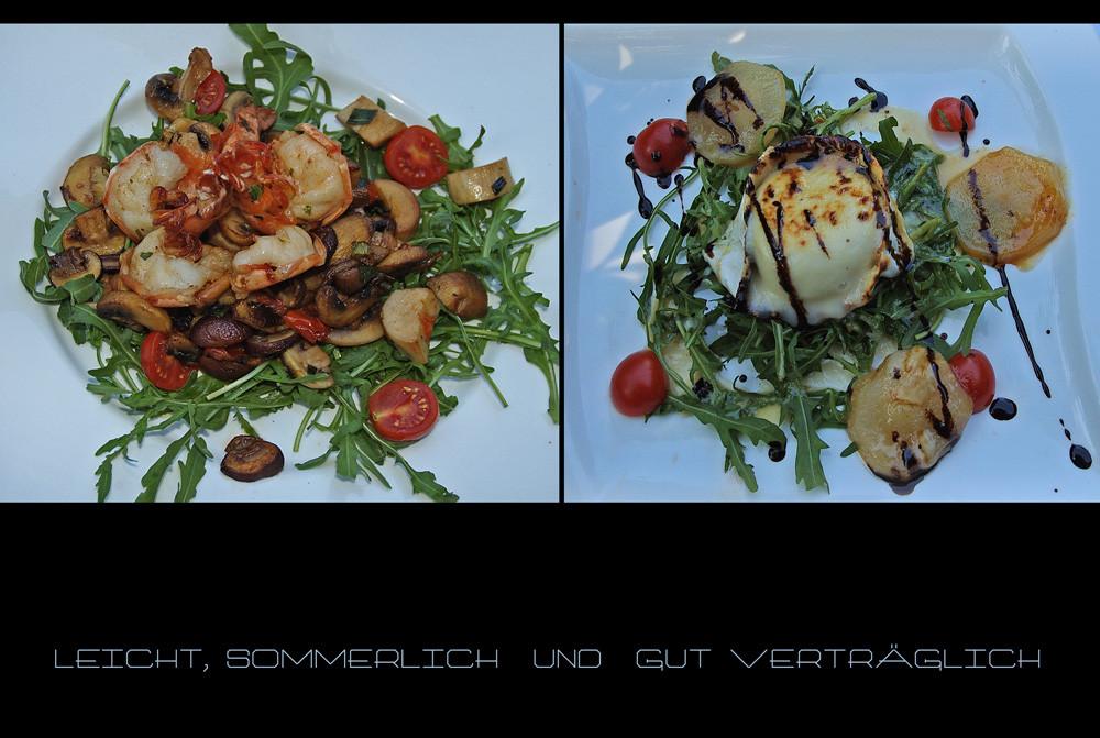 Scampis auf Rucola - Jakobs Muscheln,  Ziegenkäse ebenfalls auf Rucola - Salat...