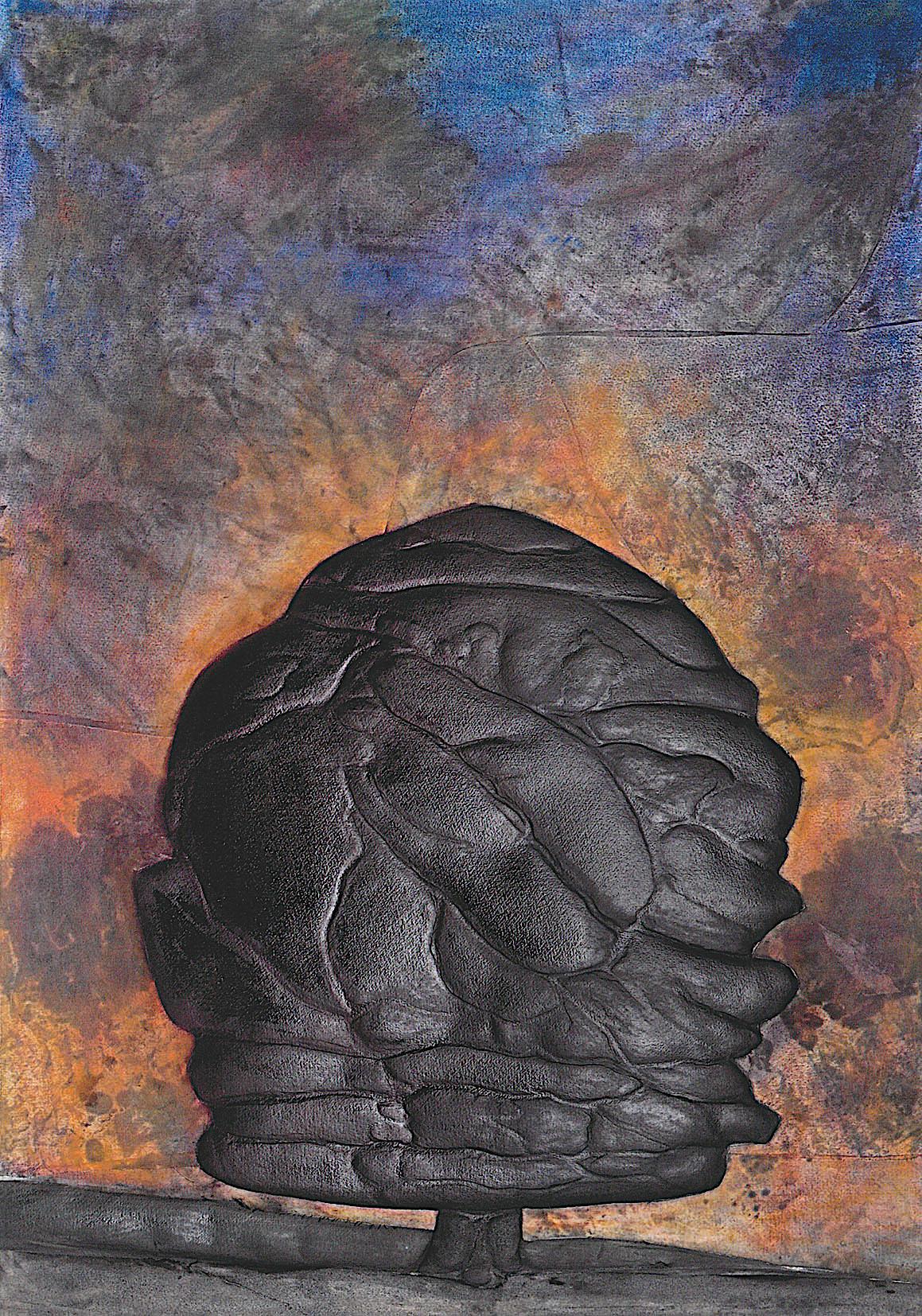2011. 100 x 65 cm. Papier en relief marouflé sur toile avec lès de toile marouflés sur papier. Encre d'imprimerie.
