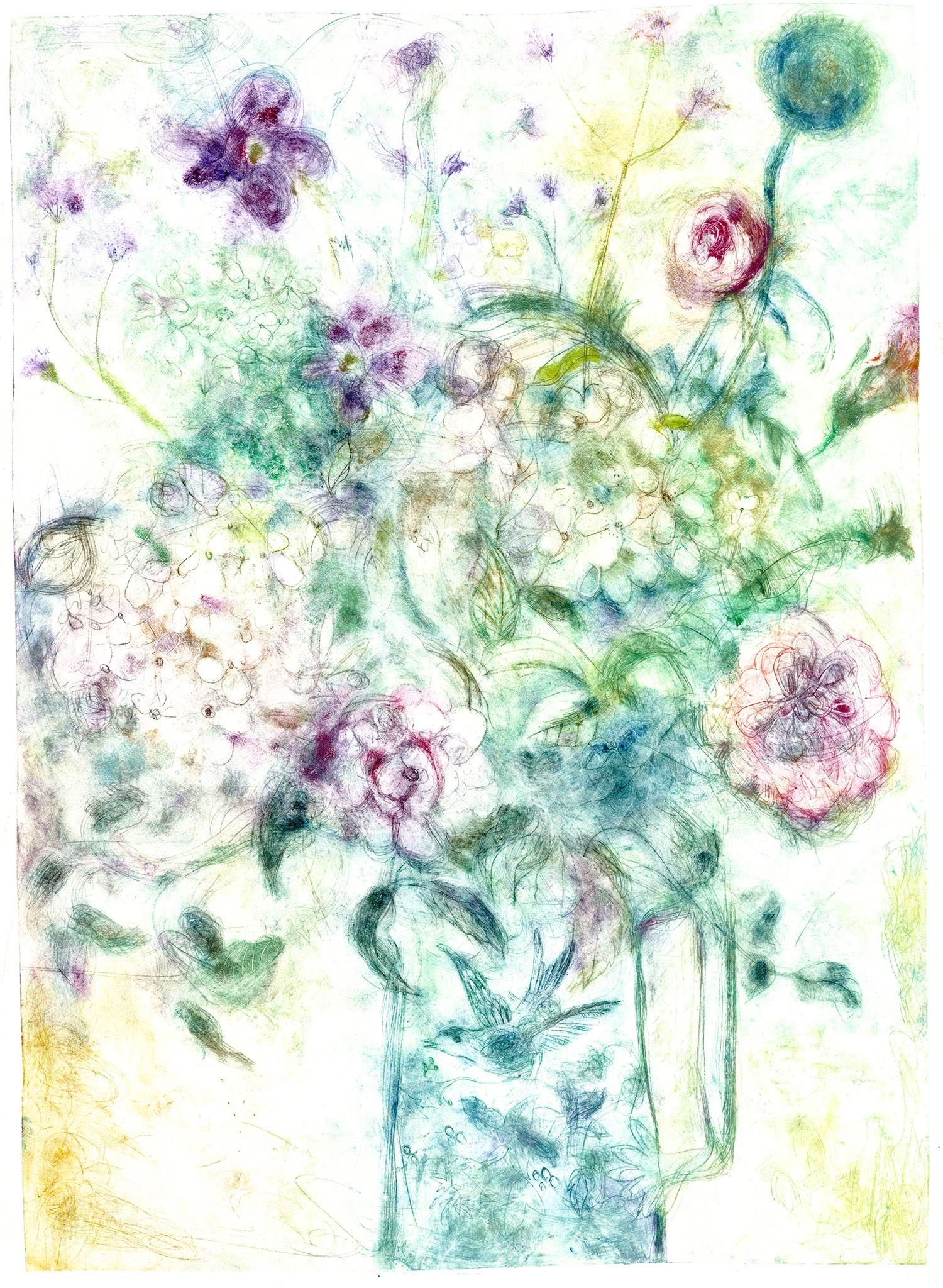 November Bouquet Green - handcoloured drypoint image 47x64cm white wood framed 60x78 £345